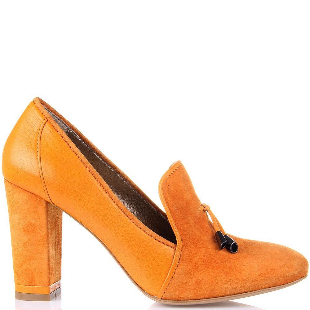 Кожаные туфли Modus Vivendi на среднем каблуке с декоративными завязками