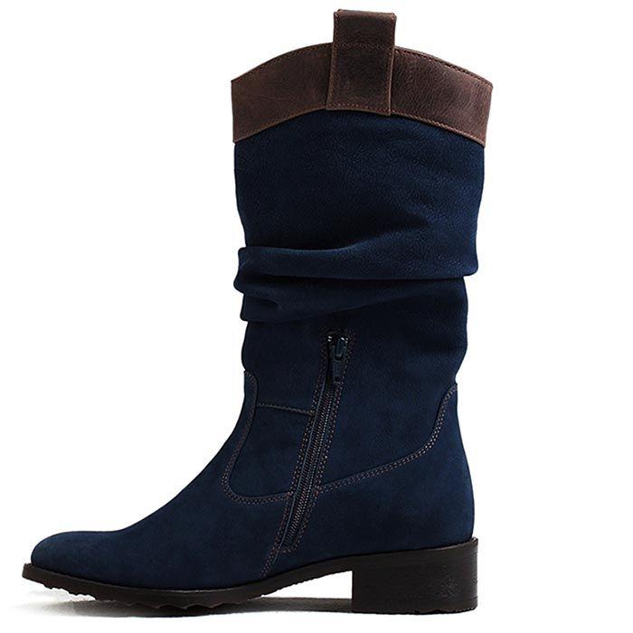 Сапоги женские Modus Vivendi темно-синие с коричневой вставкой
