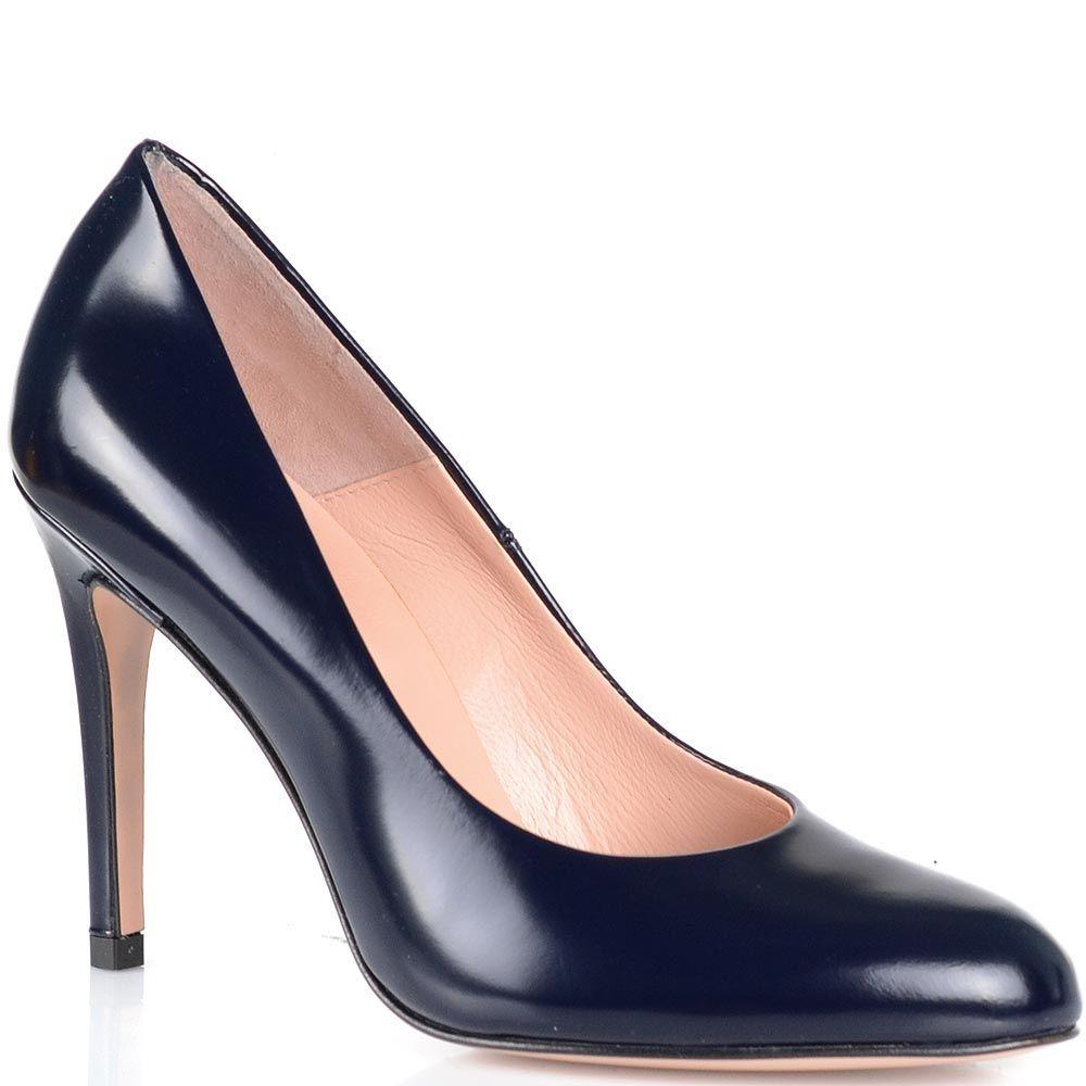 Туфли Anna F темно-синего цвета на высоком каблуке с округлым носком