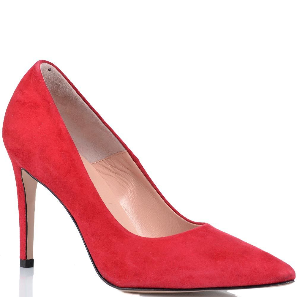 Замшевые туфли-лодочки Anna F красно-малинового цвета