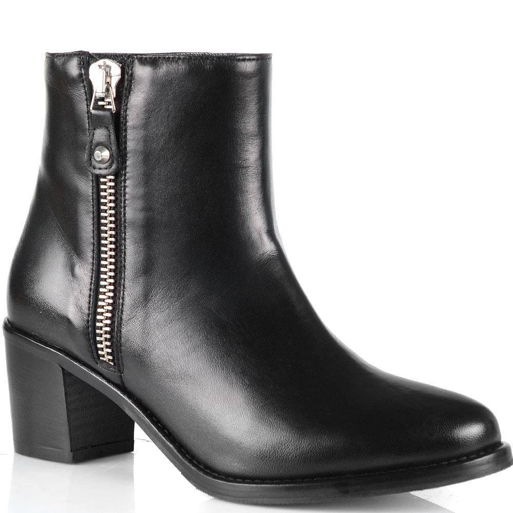 Черные кожаные ботинки Anna F на невысоком каблуке с округлым носком