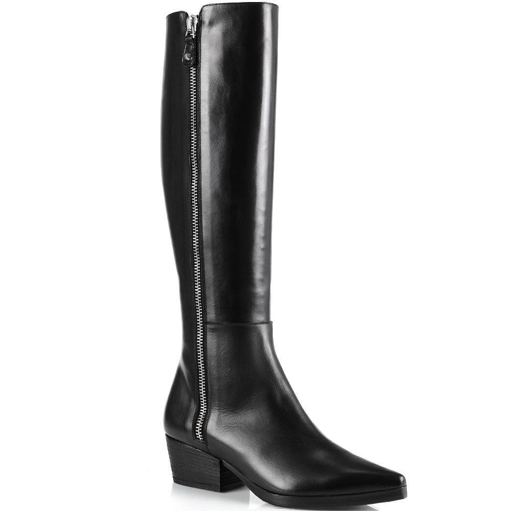Высокие сапоги Anna F на низком широком каблуке с зауженным носком