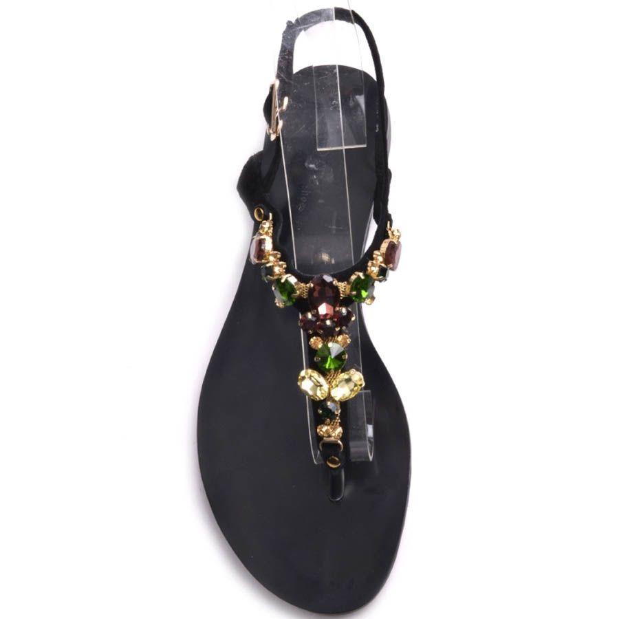 Сандалии Prego черного цвета замшевые с декором в виде круглых цветных камней