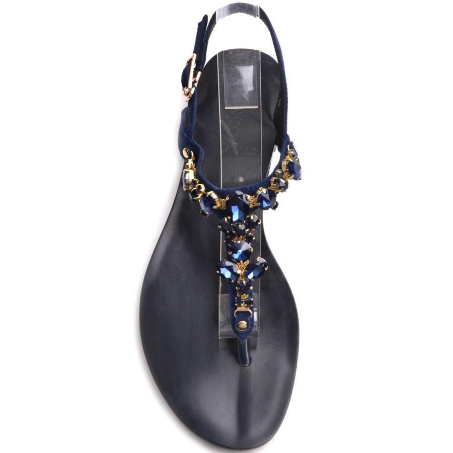 Сандалии Prego синего цвета замшевые с декором в виде синих камней