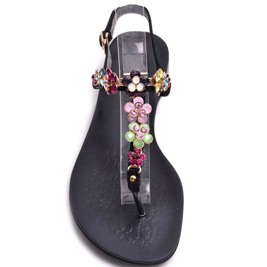 Сандалии Prego черного цвета замшевые с разноцветными цветочками