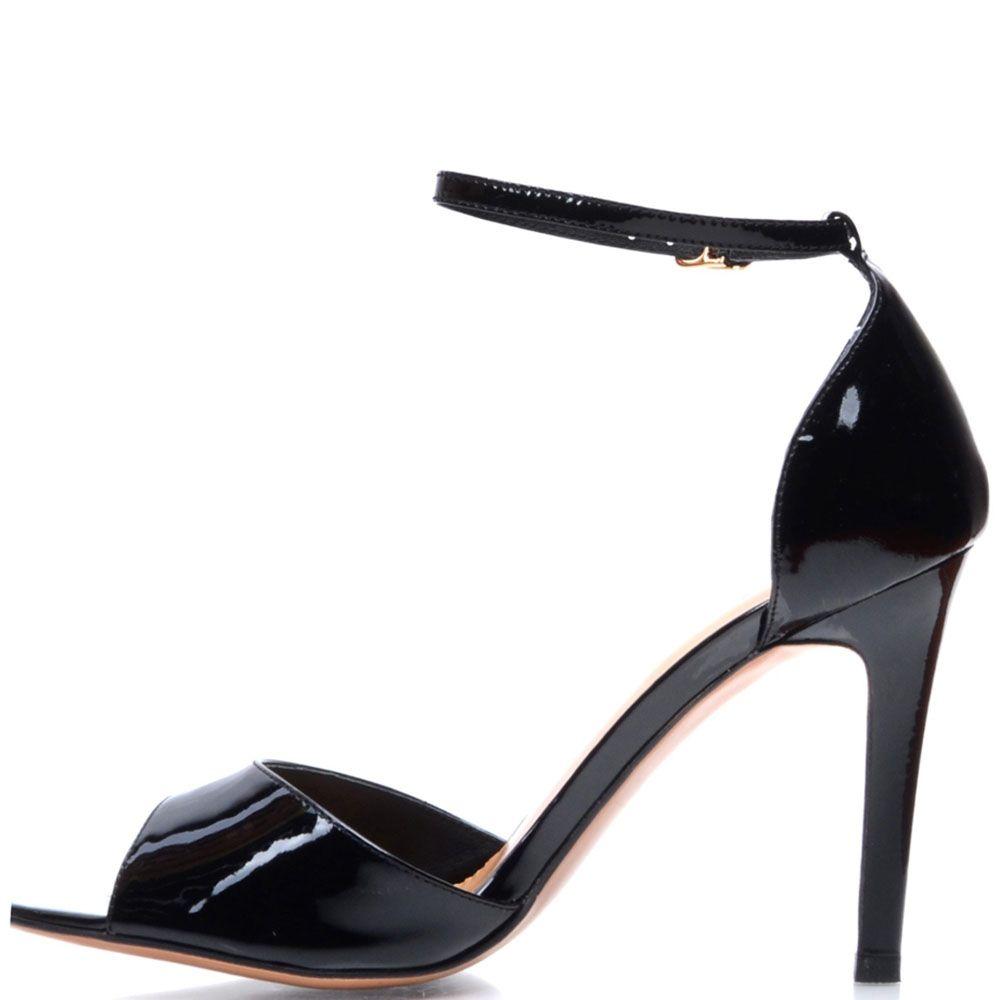 Лаковые босоножки Prego из кожи черного цвета с открытым носочком