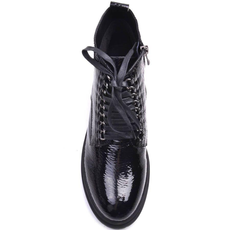 Ботинки Prego лаковые из фактурной кожи с металлическими кольцами для шнурков