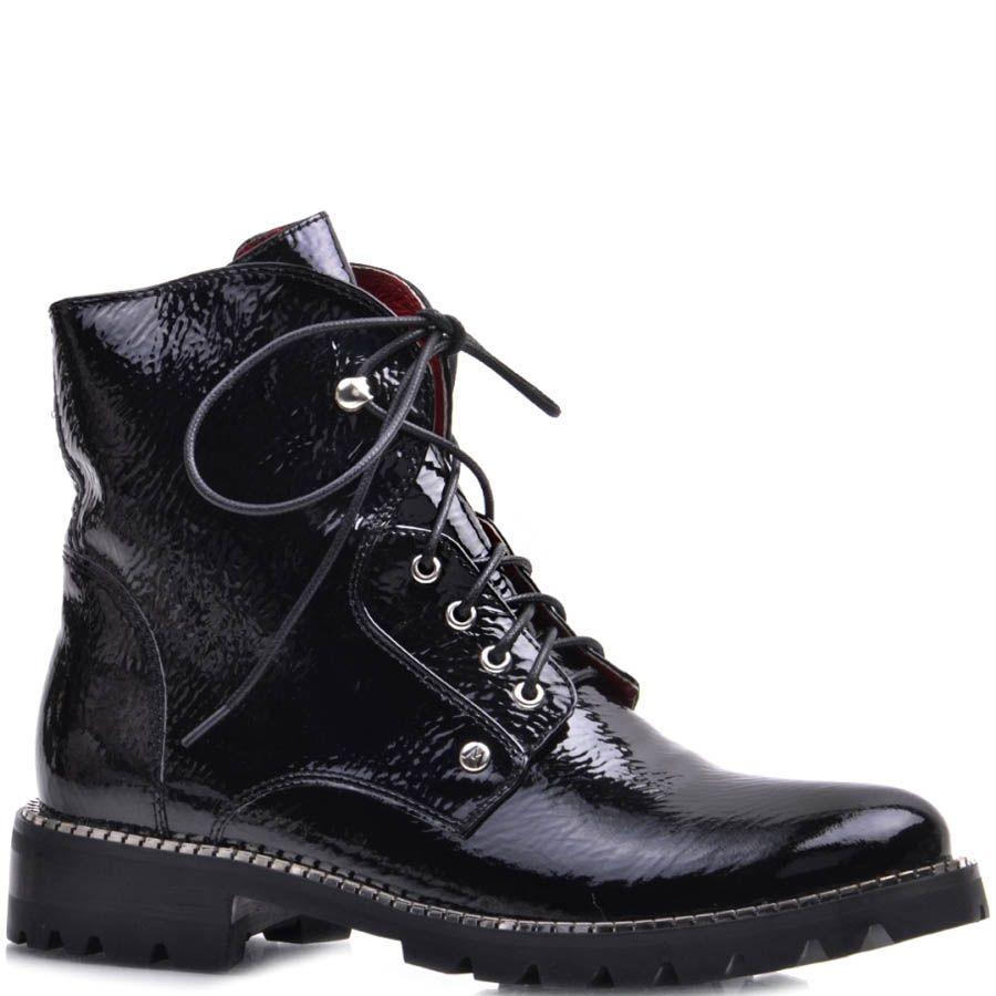 Ботинки Prego черного цвета лаковые с металлическим декором вдоль подошвы