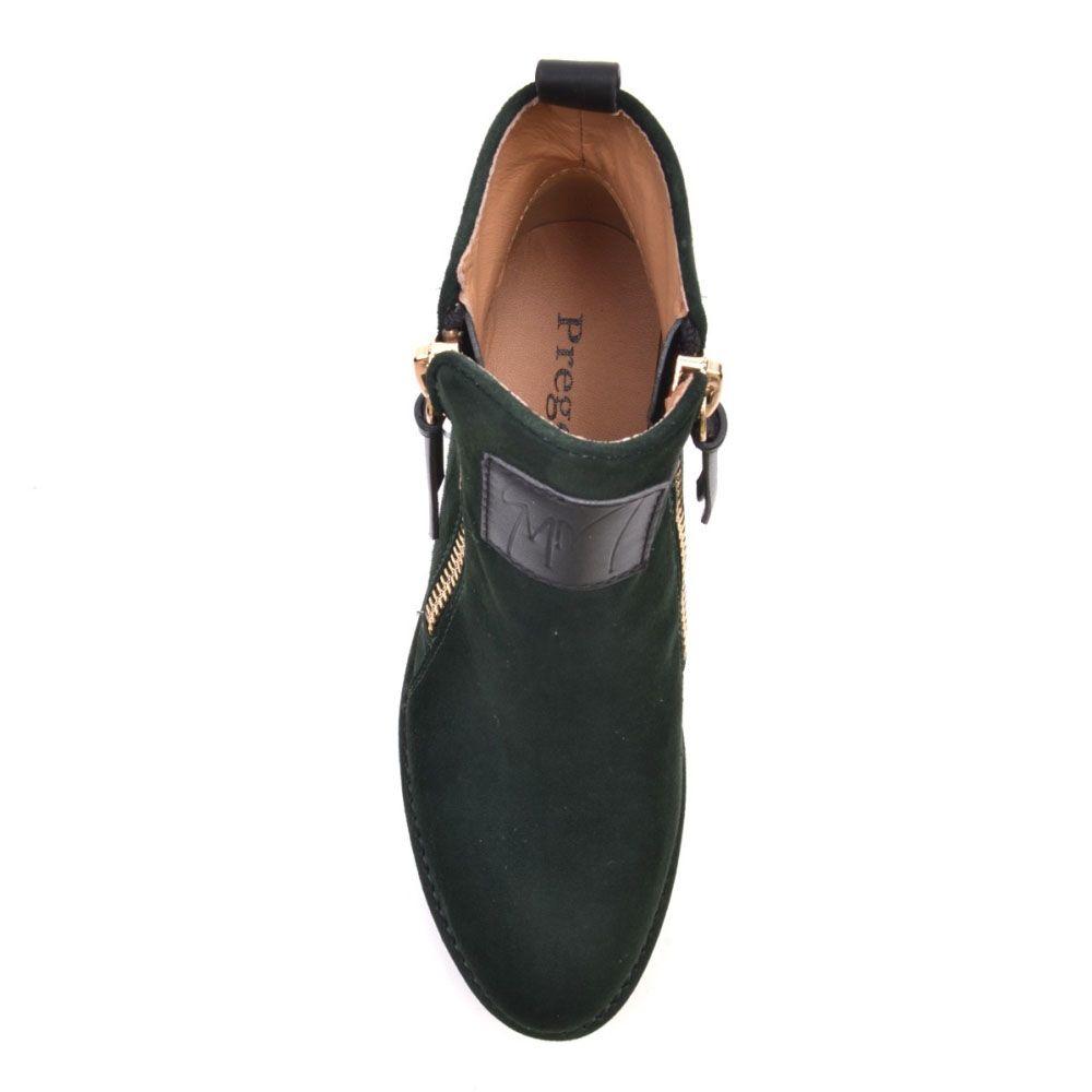 Ботинки Prego из натуральной замши зеленого цвета на молнии с двух сторон