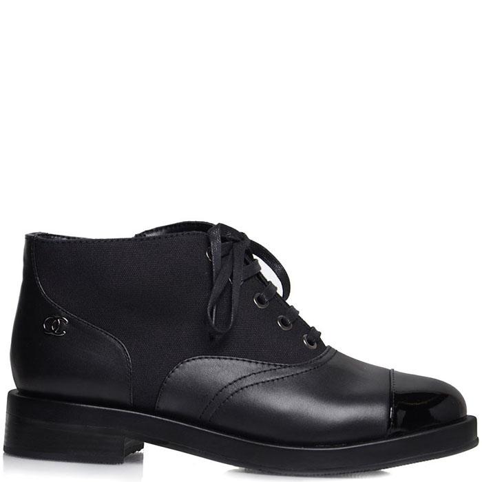 Женские ботинки Prego из натуральной кожи черного цвета с лаковым носочком
