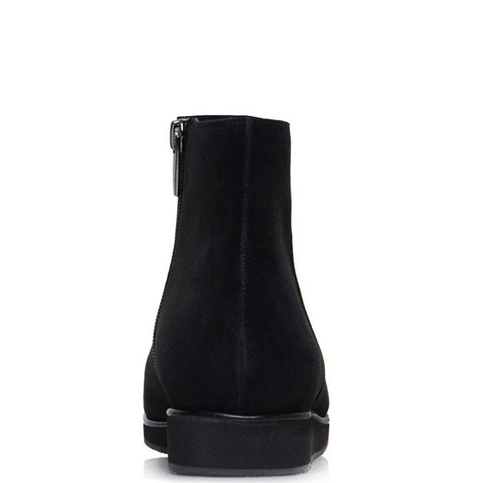 Ботинки Prego из натуральной замши черного цвета с лаковым носочком
