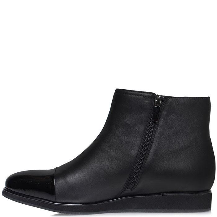 Ботинки Prego из кожи черного цвета с лаковым носочком