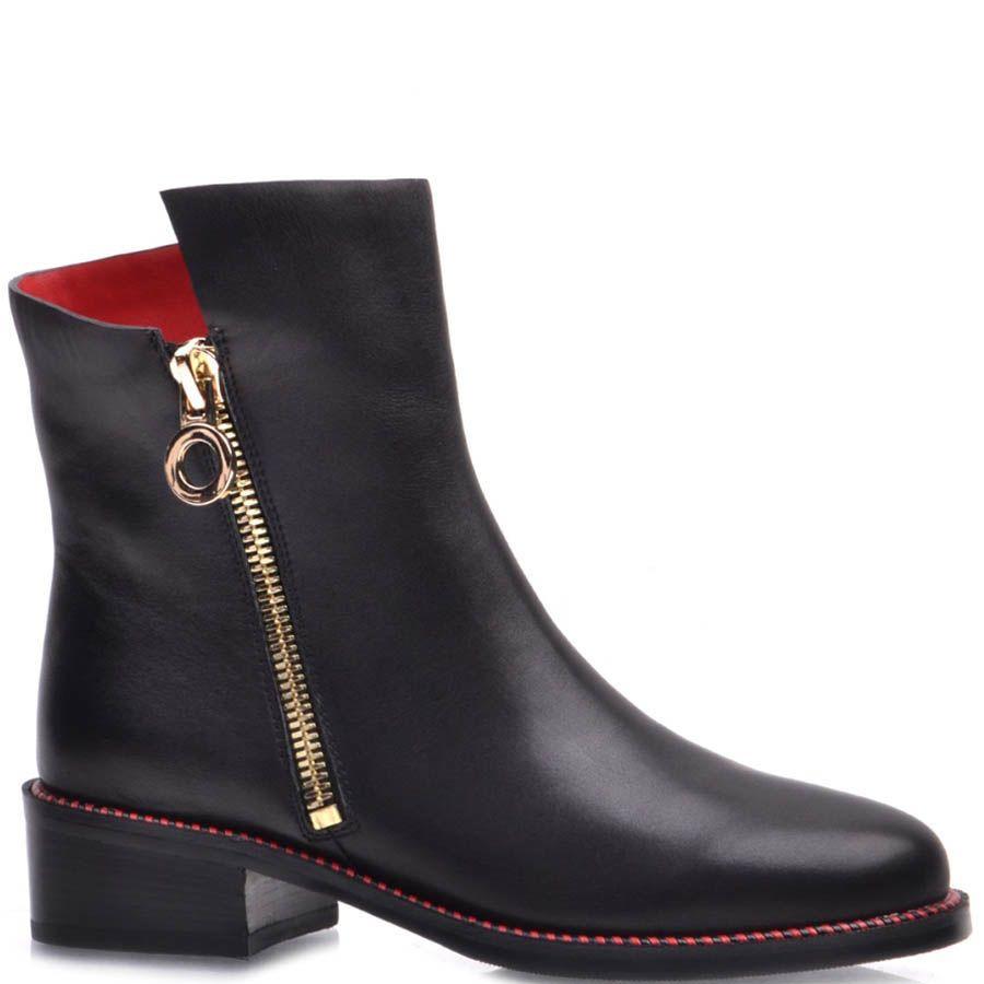 Ботинки Prego из гладкой кожи красные изнутри и с золотистой молнией
