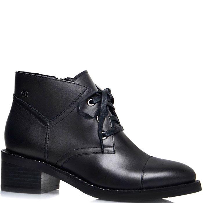 Ботинки Prego черного цвета на среднем каблуке