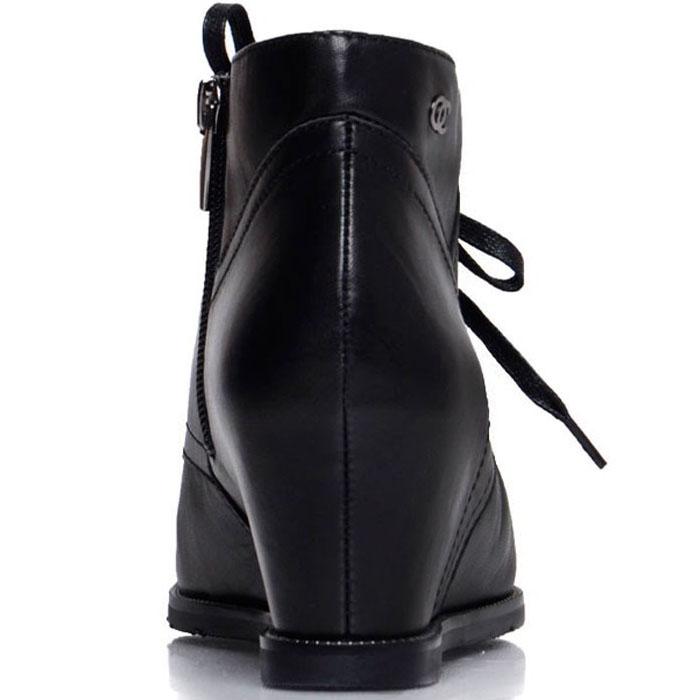 Кожаные ботинки Prego черного цвета на танкетке