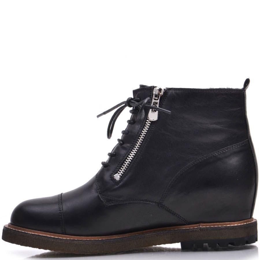 Ботинки Prego зимние с мехом черные со шнуровкой и молниями
