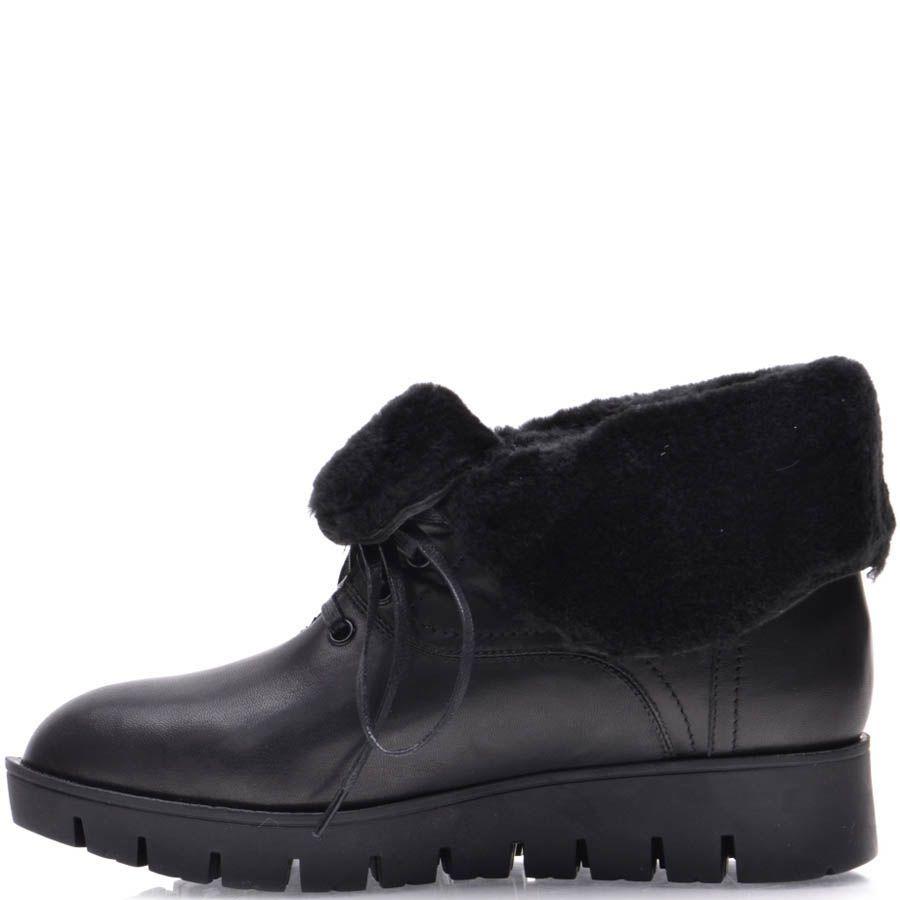 Ботинки Prego зимние с меховым отворотом черного цвета с узким носком