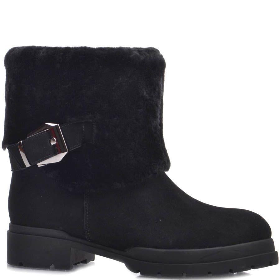 Ботинки Prego зимние черные с широким меховым отворотом и декоративной пряжкой
