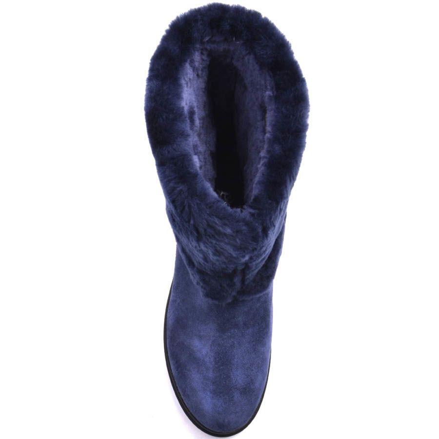 Ботинки Prego зимние синие с широким меховым отворотом и декоративной пряжкой