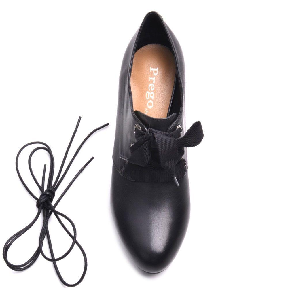 Закрытые туфли Prego из кожи черного цвета на устойчивом каблуке