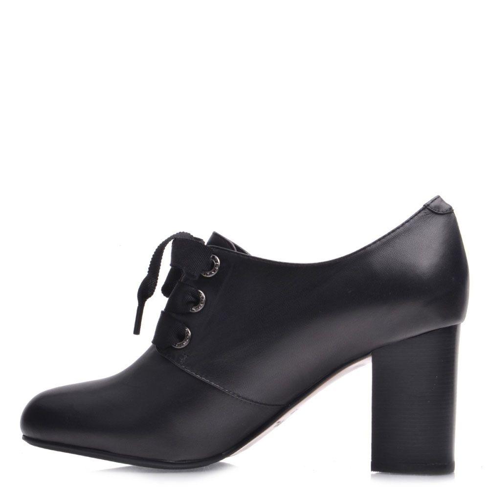 Закрытые туфли Prego из натуральной кожи черного цвета на устойчивом каблуке