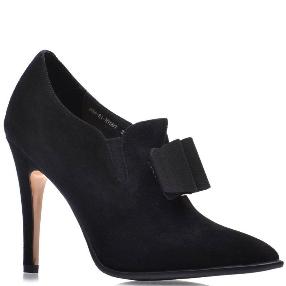 Черные замшевые туфли Prego на шпильке с декором-бантиком