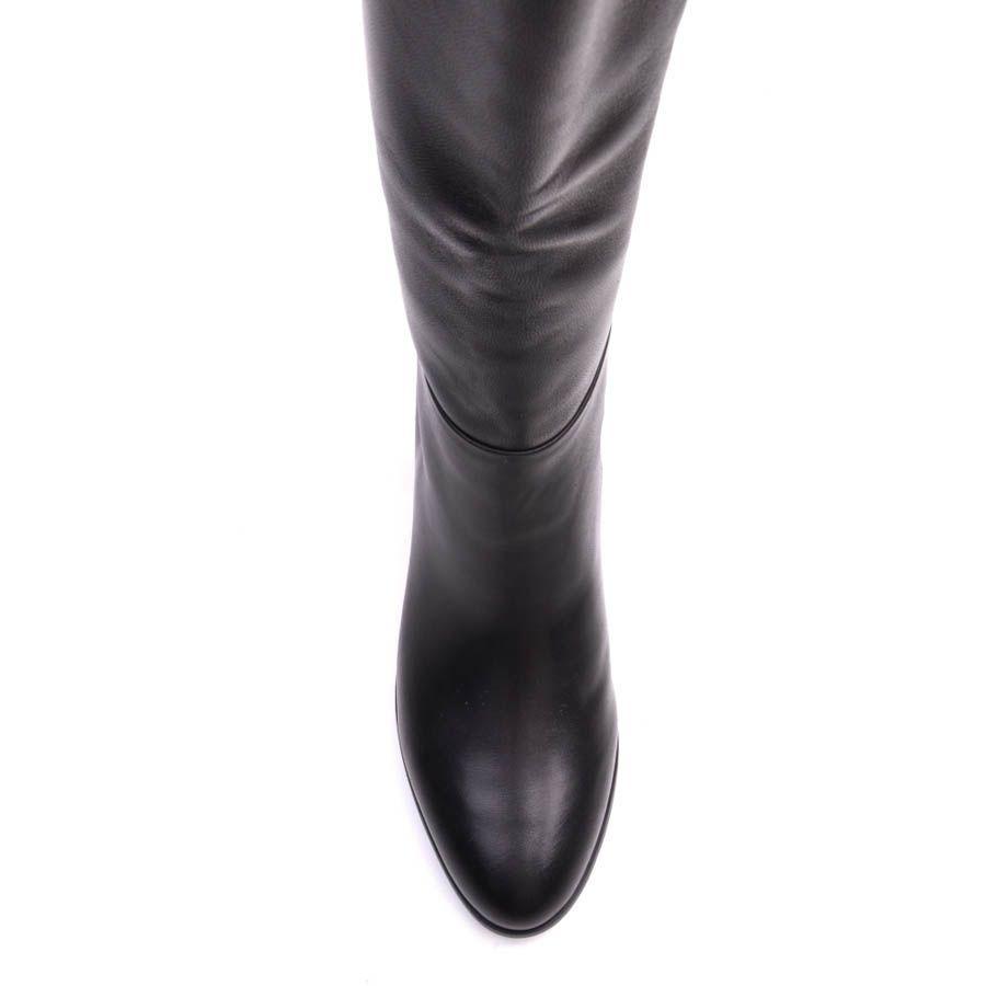 Сапоги Prego осенние черного цвета минималистичные с широким голенищем