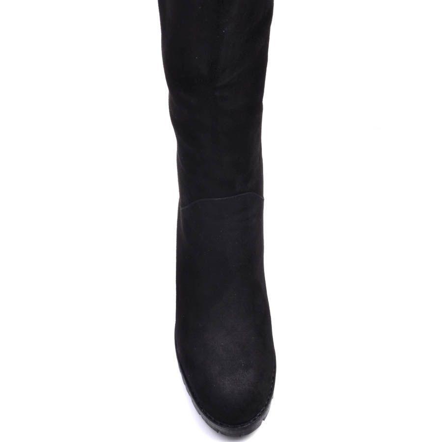 Сапоги Prego зимние на меху из натуральной замши черного цвета с устойчивым каблуком и со вставкой над каблуком