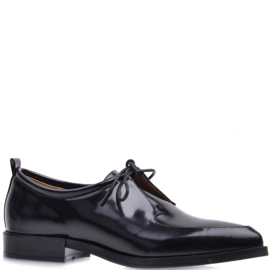 Туфли Prego черного цвета кожаные на плоском ходу с узким носком и тонкими шнурками