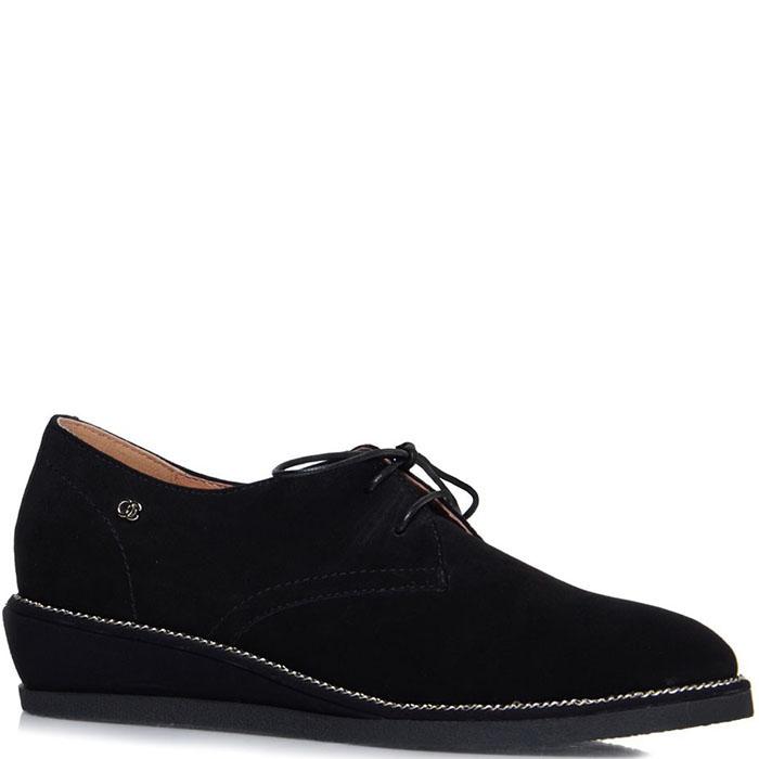 Замшевые туфли Prego черного цвета на танкетке