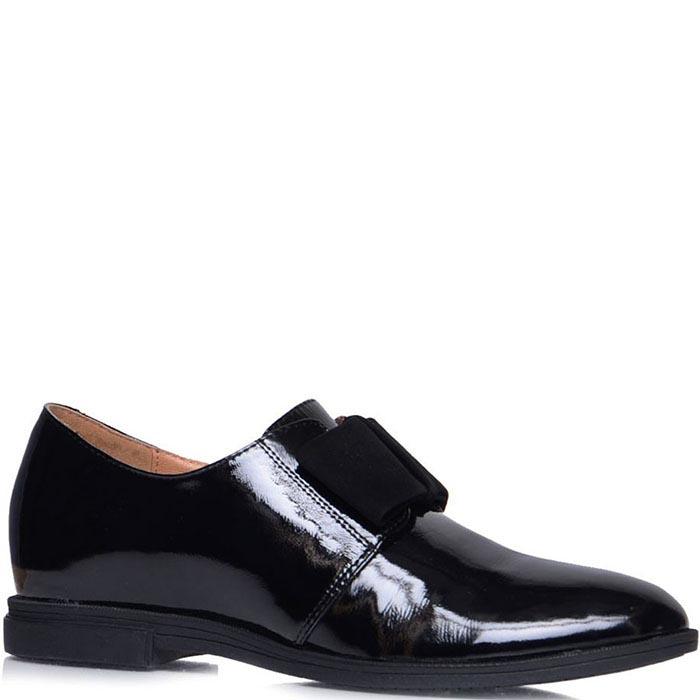 Лаковые туфли Prego черного цвета на низком ходу