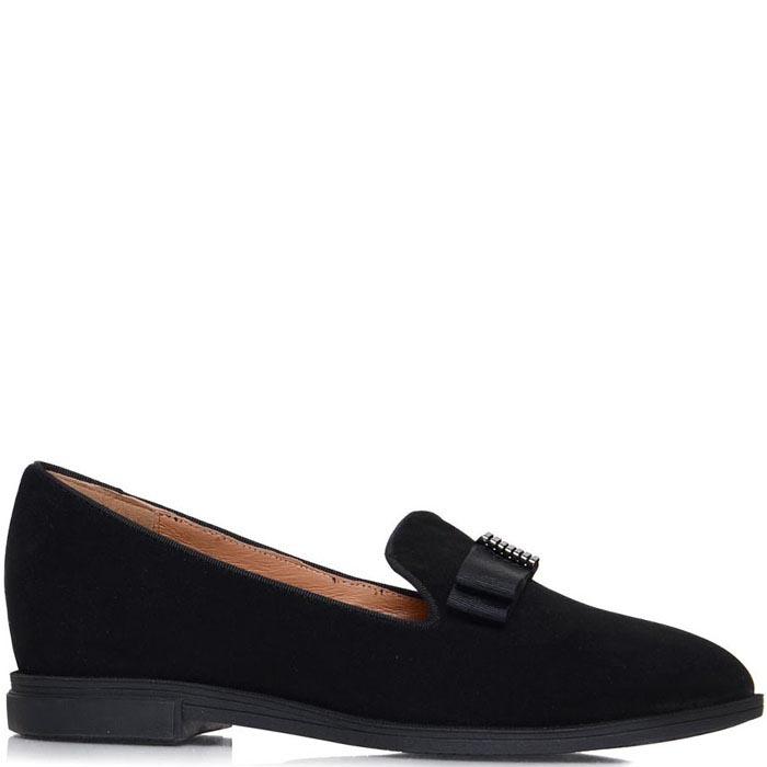 Туфли Prego черного цвета украшенные текстильным бантиком