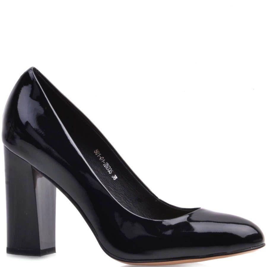 Туфли-лодочки Prego лаковые черного цвета на устойчивом каблуке
