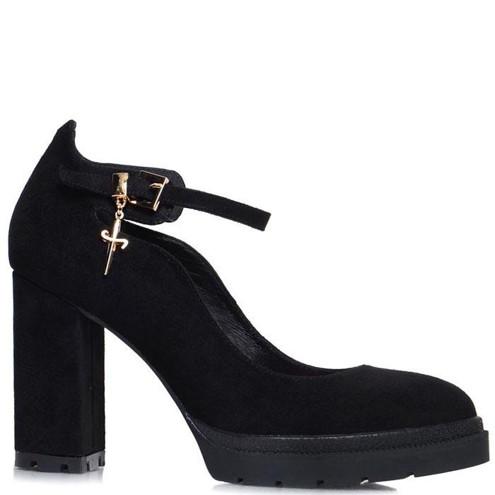 Туфли Prego черного цвета с ремешком на высоком каблуке