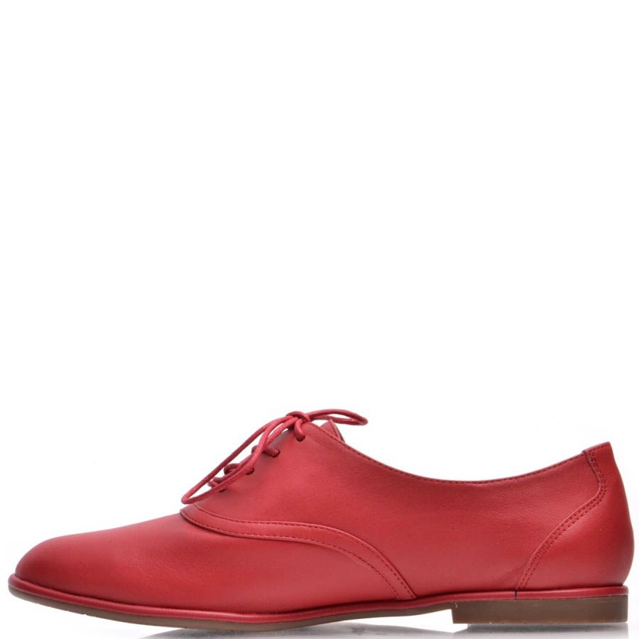 Туфли Prego красного цвета кожаные на шнуровке