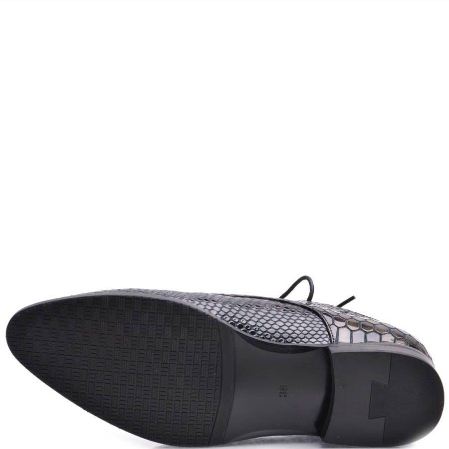 Туфли Prego женские на шнуровке лаковые с отделкой под кожу змеи