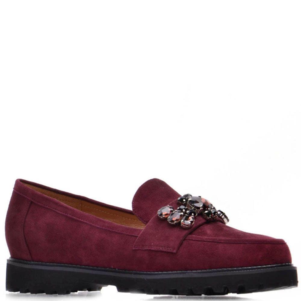 Туфли Prego из натуральной замши бордового цвета декорированные большими камнями