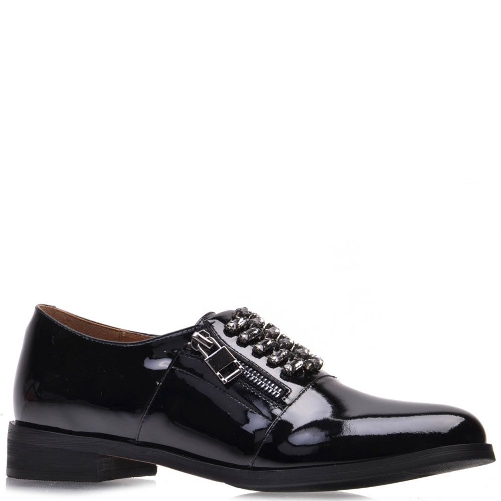 Туфли Prego из натуральной лаковой кожи черного цвета с молниями по бокам