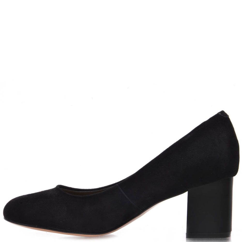 Туфли Prego из натуральной черной замши на среднем каблуке