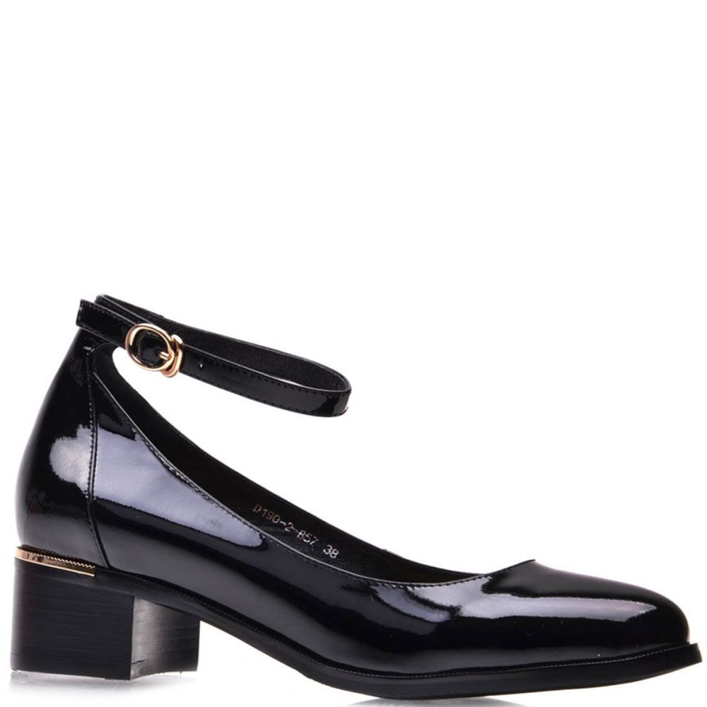 Туфли Prego из натуральной лаковой кожи с ремешком на лодыжке