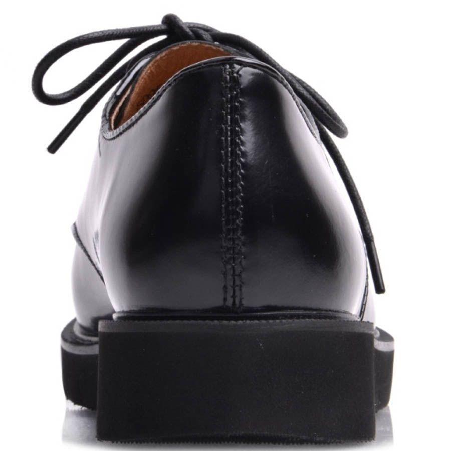 Туфли Prego женские на широкой подошве из гладкой кожи черного цвета