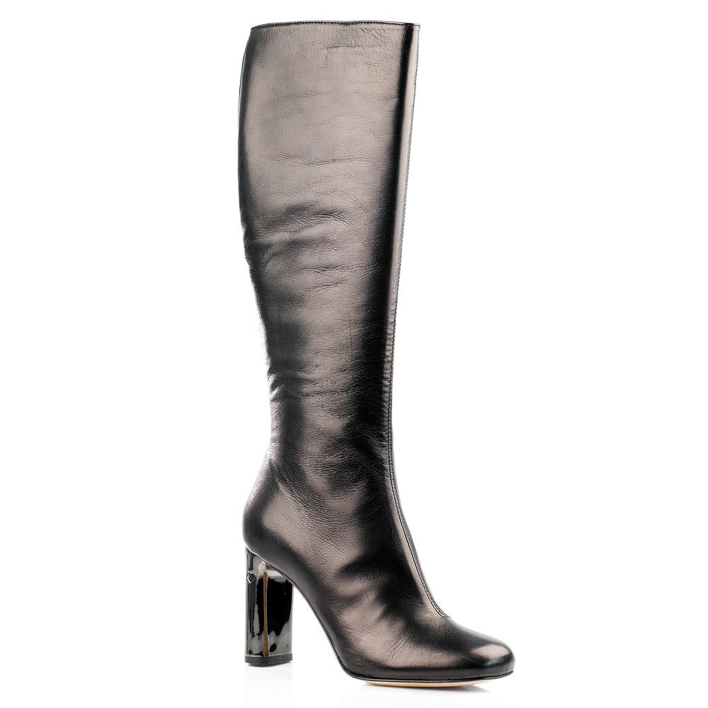 Высокие кожаные сапоги Twin Set цвета черного шоколада