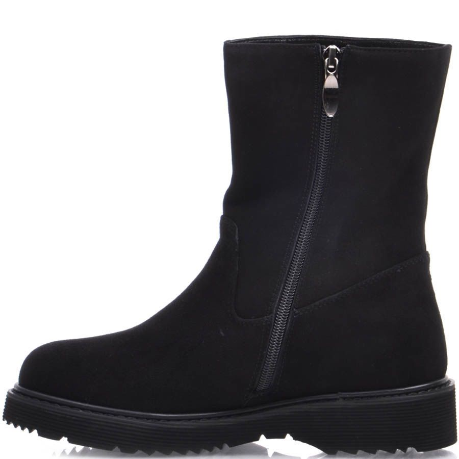 Ботинки Prego зимние на меху черного цвета с зубчастой подошвой