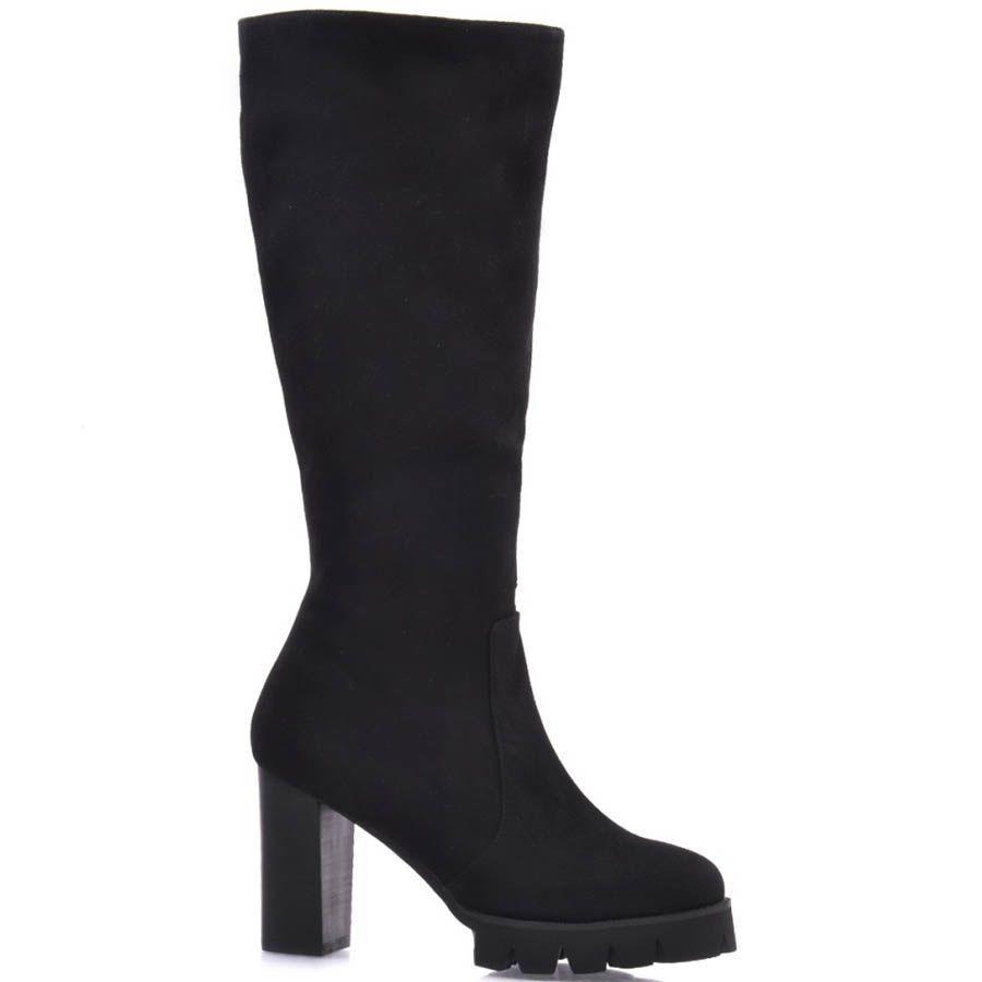 Сапоги Prego осение черного цвета замшевые на толстом каблуке высотой 9 см