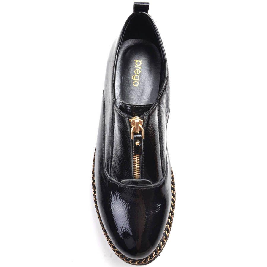 Туфли Prego черного цвета кожаные лаковые с толстой рельефной подошвой и золотистой молнией