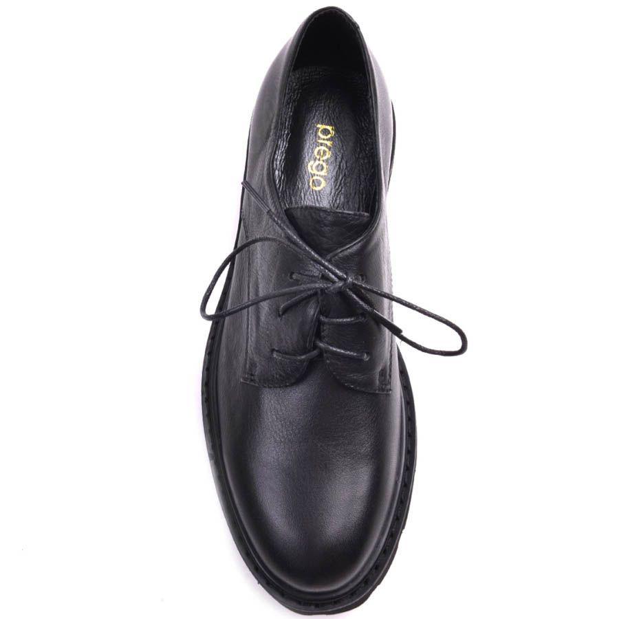 Ботинки Prego черного цвета кожаные с толстой рельефной подошвой и тонкими шнурками