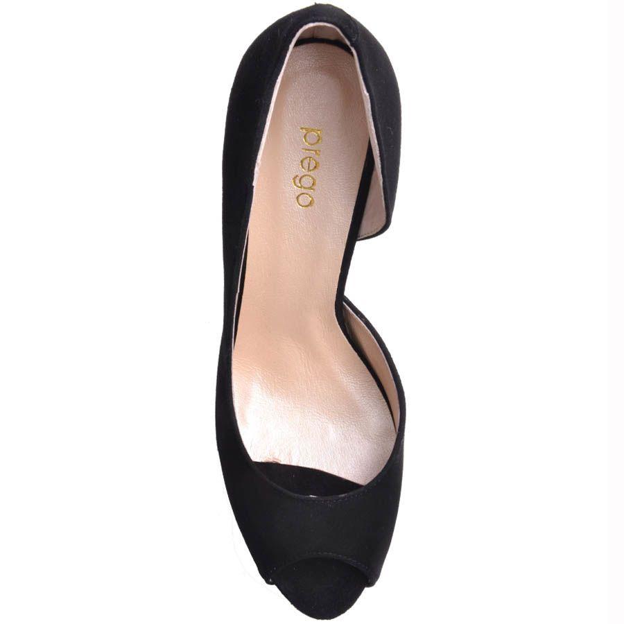 Туфли Prego с открытым пальчиком замшевые черного цвета на шпильке