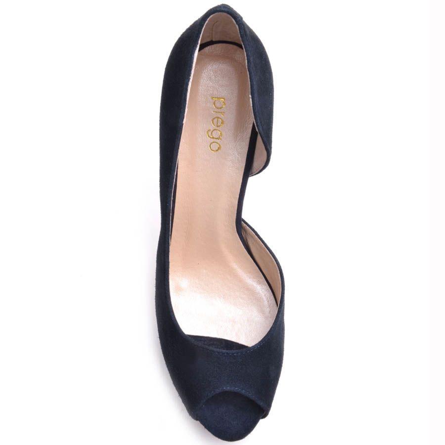 Туфли Prego с открытым пальчиком замшевые синего цвета на шпильке