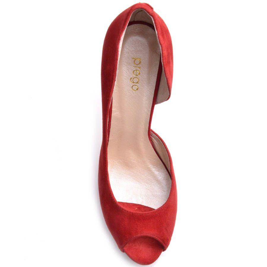 Туфли Prego с открытым пальчиком замшевые красного цвета на шпильке