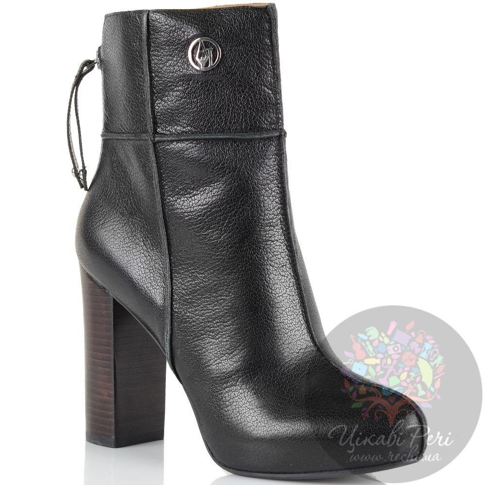 Ботинки на массивном каблуке Armani Jeans кожаные черные со швами-декором на молнии сзади